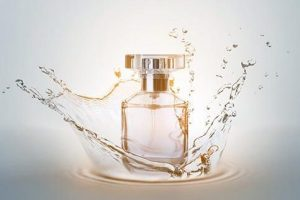 Bottle of perfume with splash on light background